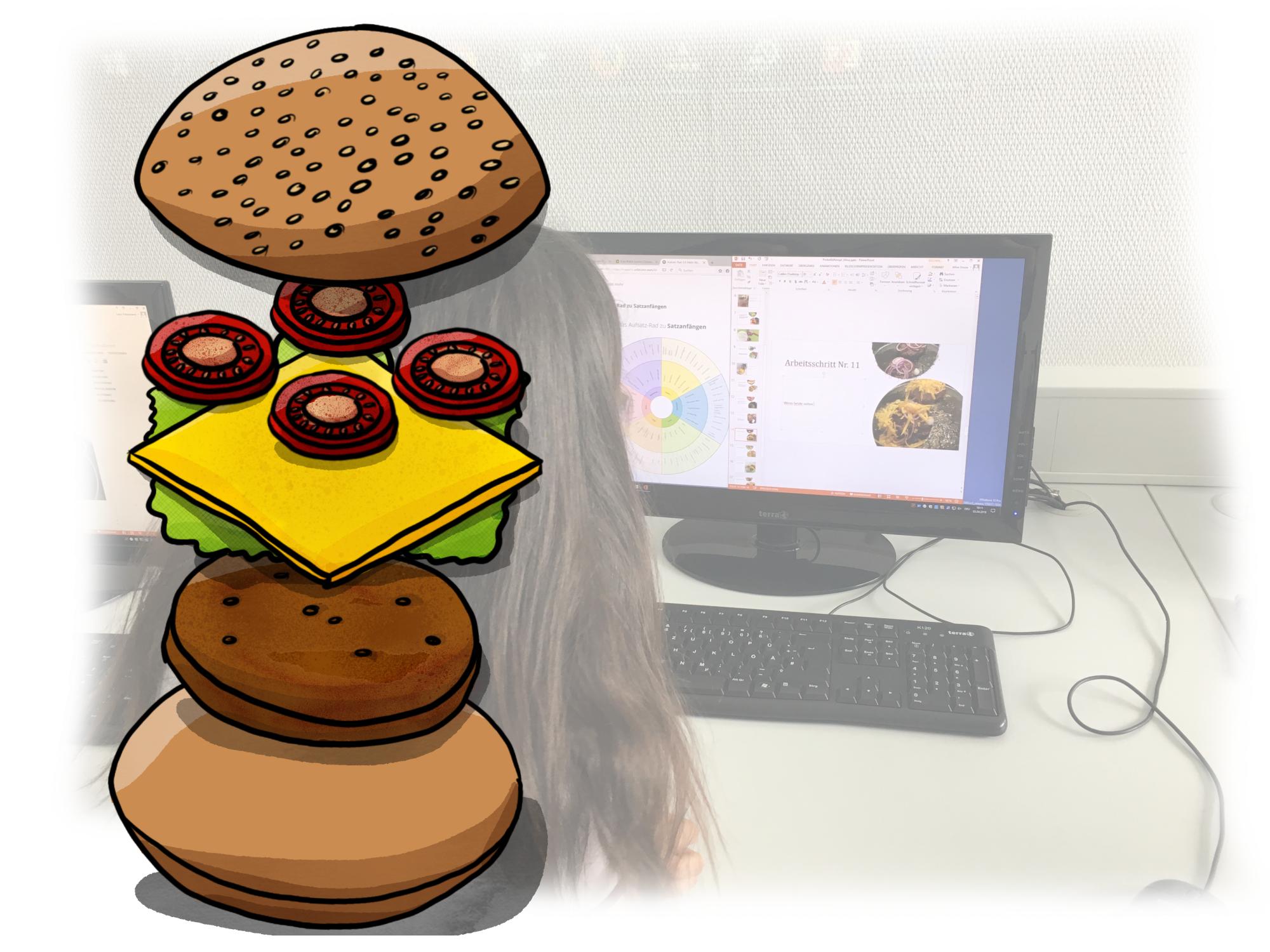 Leckere Cheeseburger mit Barbecuesauce